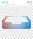 Inbox polygonal symbol. Appealing mosaic style symbol. pleasant low poly style. Modern design. inbox icon for infographics or presentation stock illustration