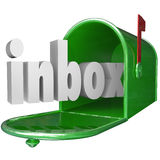 Inbox Word Green Mailbox Incoming Message Email. The word inbox in a green metal mailbox to illustrate incoming messages Royalty Free Stock Photos