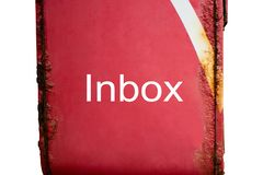 Inbox words on red post box have the rust on white backgroundInbox words on red post box have the rust on white background. Red post box have the rust and Inbox stock photo