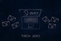 Inbox zero bärbara datorn med nummer på skärmen och kuverten omkring Arkivbilder