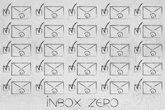 Group of email envelopes ticked off. Inbox zero conceptual illustration: group of email envelopes ticked off Royalty Free Stock Images