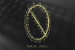 Number zero made of email envelopes Royalty Free Stock Image