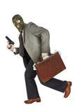 Inbreker die met het kanon en een aktentashoogtepunt lopen van geld Royalty-vrije Stock Foto