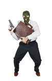 Inbreker met een kofferhoogtepunt van geld Stock Fotografie