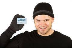 Inbreker: Opgewekt om Creditcard gestolen te hebben Royalty-vrije Stock Foto's