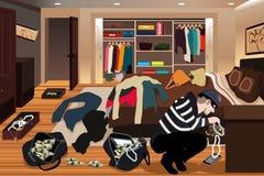 Inbreker Stealing Jewelries From een Huisillustratie Stock Afbeeldingen