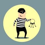 Inbrottstjuv som bär en grupp av tangenter royaltyfri illustrationer