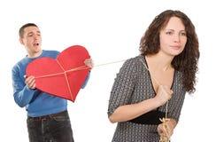 inbunden fångad hjärta bemannar Arkivfoto