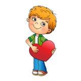 inbunden vektor för valentin för daghjärtaillustration s två Charmig pojke med isolerad hjärta Royaltyfri Foto