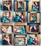 Inbundet begrepp Collage av mannen och kvinnor som sitter inom asken royaltyfri bild