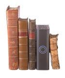 inbundna böcker kör gammal rad för hårt läder Royaltyfri Fotografi