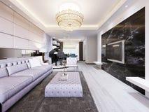 Inbyggd TV på väggen i den lyxiga vardagsrummet som är svart marmorerar väggen med TV och vita hyllor Modern vardagsrum in vektor illustrationer