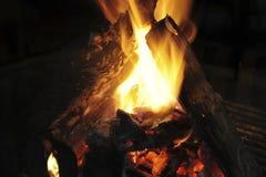 Incêndio acolhedor em uma chaminé de vidro Imagens de Stock