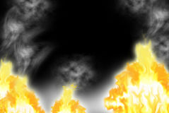 Incêndio com um fumo Fotografia de Stock Royalty Free