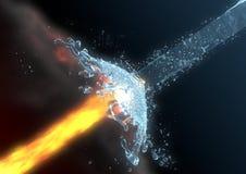 Incêndio contra a água Imagens de Stock
