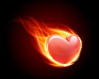 Incêndio da flama do coração da queimadura ilustração stock