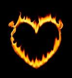 Incêndio da forma do coração Fotografia de Stock