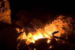 Incêndio de acampamento Fotografia de Stock Royalty Free