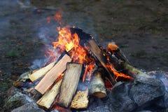 Incêndio de madeira do acampamento foto de stock royalty free