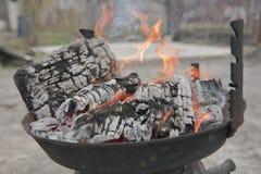 Incêndio de madeira na grade Imagens de Stock