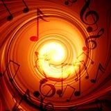 Incêndio de roda com notas da música Fotografia de Stock
