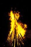 Incêndio do acampamento que queima-se na noite foto de stock
