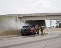 Incêndio do carro Fotografia de Stock