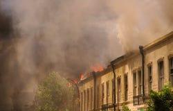 Incêndio e fumo Imagem de Stock