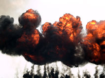 Incêndio e fumo da explosão Imagens de Stock