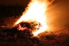 Incêndio em um fundo preto imagem de stock
