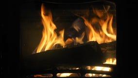 Incêndio em uma chaminé Queime o fogo com casa interna da madeira e dos pés filme