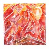 Incêndio flama Elemento natural da aquarela ilustração do vetor