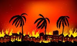 Incêndio florestal em Califórnia, nos EUA Paisagem da natureza e de casas de queimadura Ilustração lisa do vetor ilustração do vetor