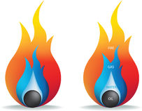 Incêndio, gás, petróleo e água Foto de Stock