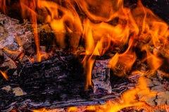 Incêndio Madeira que queima-se no incêndio Carvões ardentes imagens de stock royalty free