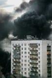 Incêndio na cidade fotografia de stock
