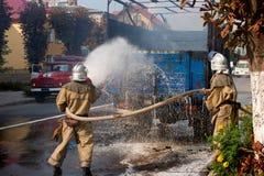 Incêndio na rua Imagens de Stock Royalty Free