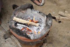 Incêndio quente Tailândia da queimadura do fogão imagens de stock royalty free