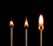 Incêndio (três fósforos). Fotos de Stock Royalty Free