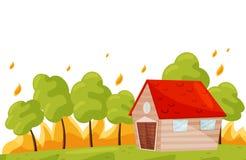 Incêndio violento perto de casa viva Árvores verdes no fogo quente Catástrofe natural de queimadura da floresta Projeto liso do v ilustração do vetor