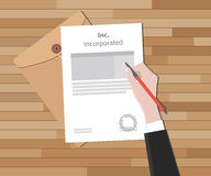 Inc. incorporated incorporation company document paper Stock Image