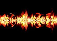 Inc?ndio e flamas com uma obscuridade ardente - vermelho - fundo alaranjado Inc?ndio e flamas ilustração do vetor