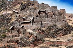Inca ancient fortress in mountains Stock Images