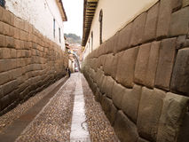Inca architecture street. In Cuzco, Peru Royalty Free Stock Images