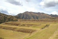 Inca castle ruins in Chinchero. Inca ruins - peruvian cultural heritage in Ands, Chinchero, Peru Royalty Free Stock Photos