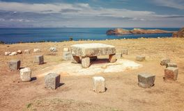 Inca ceremonial table used to be probably place of human sacrifi. Ces at Isla del Sol Island of the Sun in Titicaca lake, Chincana, Bolivia Stock Photos