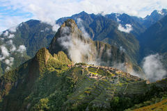 Inca citadel Machu Picchu with morning fog, Peru. In 2007 Machu Picchu was voted one of the New Seven Wonders of the World stock photo
