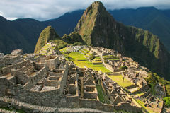 Inca citadel Machu Picchu in Peru. In 2007 Machu Picchu was voted one of the New Seven Wonders of the World stock photo