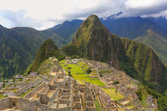 Inca citadel Machu Picchu in Peru. In 2007 Machu Picchu was voted one of the New Seven Wonders of the World stock photos