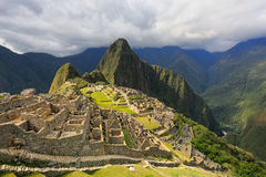 Inca citadel Machu Picchu in Peru. In 2007 Machu Picchu was voted one of the New Seven Wonders of the World stock images